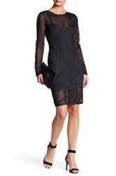 Wow Couture Mesh Panel Long Sleeve Dress Black