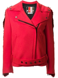 Msgm Contrast Back Faux Fur Biker Style Coat Red