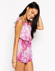 Lipsy Watercolour Beach Playsuit Multi