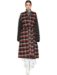 Balenciaga Plaid Flannel And Quilted Nylon Coat Multicolor