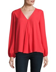 Ellen Tracy Solid Front Fold Top Red