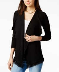 Tommy Hilfiger Open Front Fringe Cardigan Only At Macy's Black
