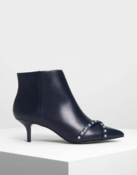 Charles And Keith Embellished Pointed Boots Dk.Blue