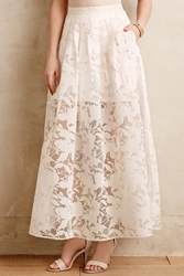 Stella And Jamie Sheer Burnout Maxi Skirt White