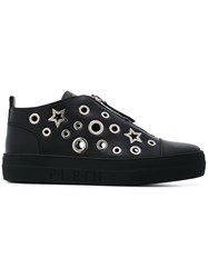 Philipp Plein Star And Eyelet Trainers Women Calf Leather Leather Rubber 37 Black