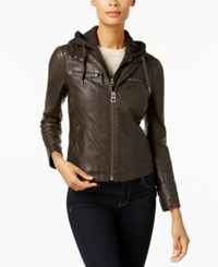 Lucky Brand Hooded Faux Leather Moto Jacket Brown