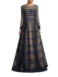 Basix Black Label Beaded Striped Gown Navy