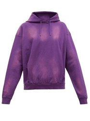 Martine Rose Logo Embroidered Bleached Cotton Hooded Sweatshirt Purple
