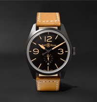 Bell And Ross Br 123 Heritage Automatic 41Mm Pvd Coated Steel Leather Watch Tan