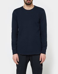 Reigning Champ Scalloped Ls Crewneck Mid Weight Terry In Navy