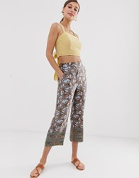 Mango Paisley Print Elasticated Waist Trouser Multi