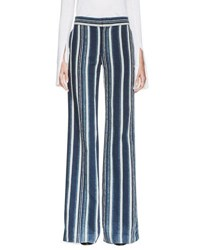 Chloe Striped Silk Wide Leg Trousers Navy Ecru And Ind