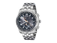 Citizen At9010 52E World Time A T Eco Drive 26 Time Zones Watch Silver Tone Stainless Steel Chronograph Watches Bronze