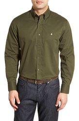 Nordstrom Men's Big And Tall Men's Shop Smartcare Tm Traditional Fit Twill Boat Shirt Green Forest