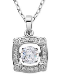 Giani Bernini Fluttering Cubic Zirconia Square Pendant Necklace In Sterling Silver