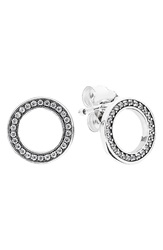 Pandora Design 'Forever Pandora' Cubic Zirconia Stud Earrings Silver Clear