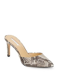 Bcbgeneration Diamond Snake Print Leather Mules Beige