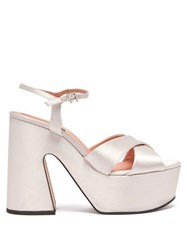Rochas Satin Platform Sandals White