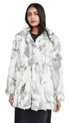 Adrienne Landau Rabbit Coat Natural Grey