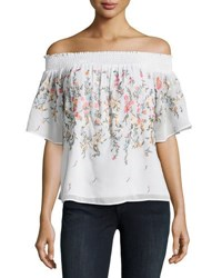 Matty M Embroidered Off The Shoulder Top White Pattern