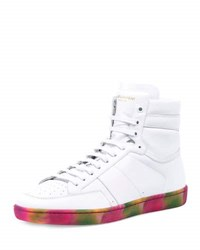 Saint Laurent Sl 10H High Top Sneaker W Tie Dye Sole White
