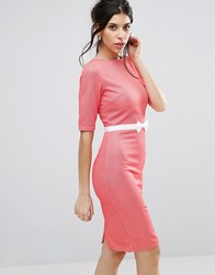 Paper Dolls Paperdolls Short Sleeve Pencil Dress With Bow Detail Red