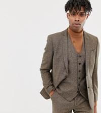Heart And Dagger Slim Suit Jacket In Camel Wool Brown