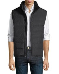 Andrew Marc New York Saranac Quilted Vest W Faux Shearling Trim Night