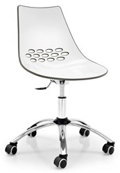 Calligaris Jam Office Chair P77 Chromed Metal P799 P837 White And Glossy Taupe Plastic