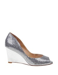 Badgley Mischka Awake Glitter Leather Wedge Pumps Silver