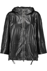 Brunello Cucinelli Hooded Leather Jacket Black