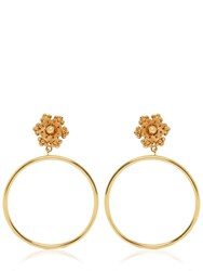 Dolce And Gabbana Flower Clip On Hoop Earrings