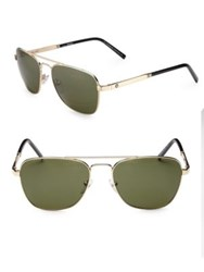 Montblanc 56Mm Aviator Sunglasses Gold Green