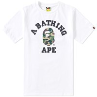 A Bathing Ape Abc Camo College Tee White