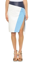 Shakuhachi Block Split Leather Skirt White Blue Navy