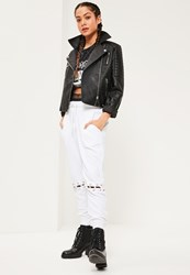Missguided White Eyelet Lace Up Knee Detail Joggers