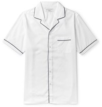 Officine Generale Jeffrey Camp Collar Piped Lyocell Shirt White