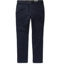 Officine Generale Julian Belted Cotton Twill Chinos Navy