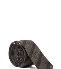 Saint Laurent Diagonal Striped Tie Grey