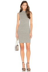 Enza Costa Rib Mock Neck Mini Dress Gray