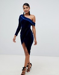 Lavish Alice Velvet One Shoulder Wrap Asymmetric Mini Dress In Navy