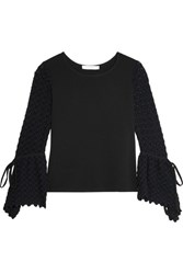 See By Chloe Crepe And Crochet Knit Top Black