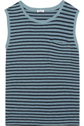 Splendid Striped Stretch Jersey Top Blue
