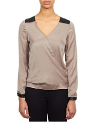 William Rast Faux Leather Trimmed Blouse Truffle