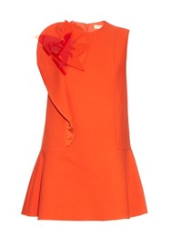 Delpozo Floral Brooch Cotton Blend Crepe Dress Orange