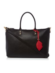 Lulu Guinness Frances Pebble Tote Bag With Lip Charm Black