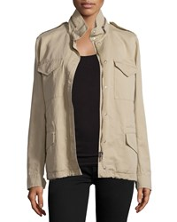 Michael Michael Kors Fur Lined Safari Jacket Sand Brown Women's