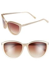 Lilly Pulitzer 'Mittie' 56Mm Cat Eye Sunglasses Pearl Nude Satin Gold