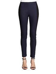St. John Contrast Trimmed Denim Leggings Ink