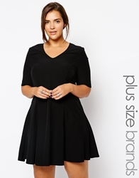 Alice And You Fit And Flare V Neck Dress Black